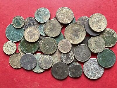38 Old English Milled Coins As Dug Metal Detecting Finds