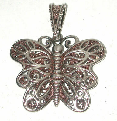 Vintage Sterling silver BUTTERFLY filigree Pendant necklace Milor Italy