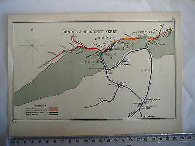 Dundee Broughty Ferry Leuchers Kilmany Firth Of Tay Port Liff Railway Map 1910