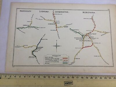 Eardisley Almeley Hereford Withington Leominster Steens Lydford Railway Map 1913