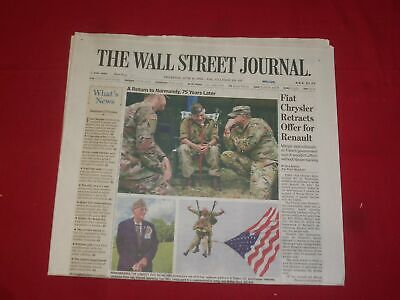 2019 June 6 Wall Street Journal Newspaper - Return To Normandy, 75 Years Later