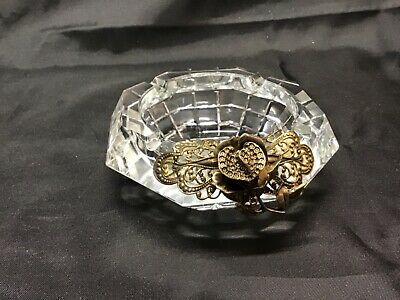 Vintage Octagon Heavy Lead Crystal Ashtray w Ornate Gold Metal Flower Accent