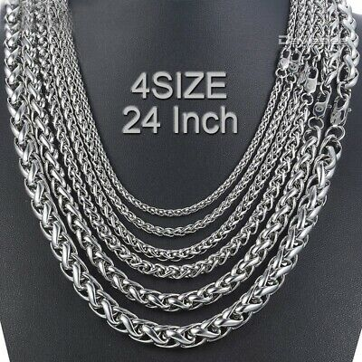 24inch 3/4/5/6MM 316L Stainless Steel Silver Braided Wheat Rope Chain Necklace