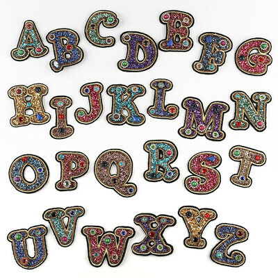 Rhinestone English Alphabet Letter Patches Applique 3D Iron On Clothing Badge