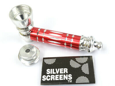 Metal Smoking Pipe and Screens RED Smoking Pipe Metal Smoking Pipe With Lid