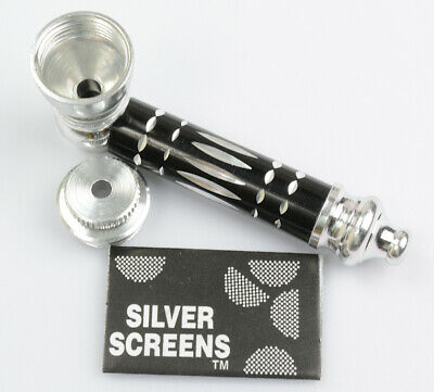 Metal Smoking Pipe and Screens BLACK Smoking Pipe Metal Smoking Pipe With Lid