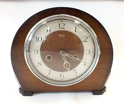 Vintage Large Wooden SMITHS ENFIELD Wind up Mechanical Mantel Clock - S79