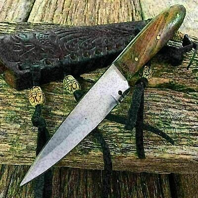 Full Tang Western Style Fixed Blade Trade Patch Knife Leather Sheath 203295 -MON