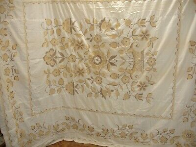 QT25 - Vintage Stamped Cross Stitch Hand Embroidered Quilt Top, 81 X 98 Inches