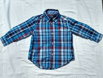 CHAPS Toddler Boys  Size 2T Plaid Button Down Long Sleeve Shirt