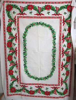 VINTAGE Poinsettia Holly Berry COTTON FABRIC Table Cloth Dining Christmas 53 x68