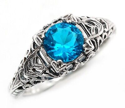 1CT Blue Topaz 925 Solid Sterling Silver Art Deco Style Ring Jewelry Sz 7, FL2