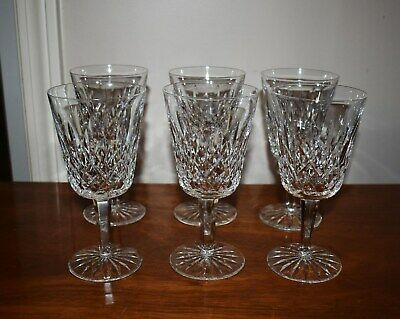 Pristine Set Of 6 Waterford Lismore Cut Crystal Tall Water Goblets - Stemware