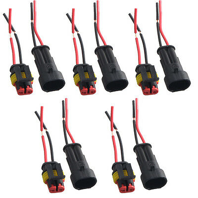 5 X 2 Pin Car Motor Waterproof Electrical Connector Plug Socket Wire Cable Sales