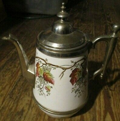 ATQ 1800's Hand Painted Enameled Graniteware Silver on Copper  Trim Coffee Pot
