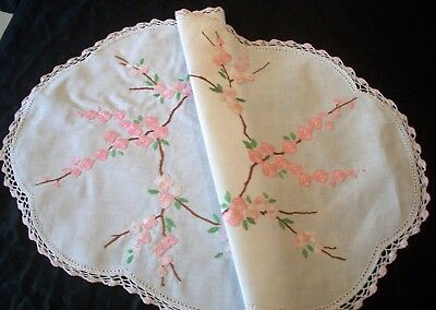 Centrepiece Doily  Hand Embroidered Pink Apple Blossoms Table Centre