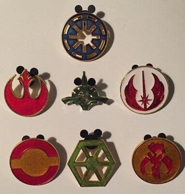 7 Disney Trading Pins Star Wars Insignias Complete Set Glittery Red Green...used