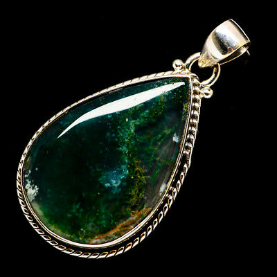 """Green Moss Agate 925 Sterling Silver Pendant 1 3/4"""" Ana Co Jewelry P691682F"""