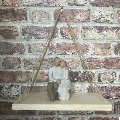 Handmade Rustic Solid Natural Wood Floating Hanging Rope Shelf Shabby Chic