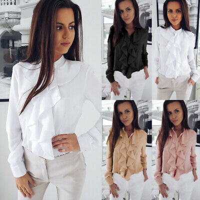 Womens Ruffles Frill Office Formal Shirt Long Sleeve Blouse Ladies   Casual Tops