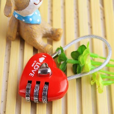 Cute Mini luggage locks 3 Digits Heart Shaped or Love Lock Code Luggage Padlock