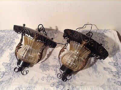 Pair Vintage French Farmhouse Wrought Iron Style Lantern Ceiling Lights (3927)