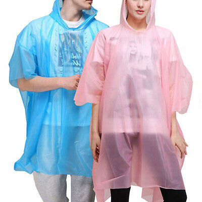 2X Adult Disposable Thick Rain Coat Hooded Poncho Waterproof Emergency Hiking UK