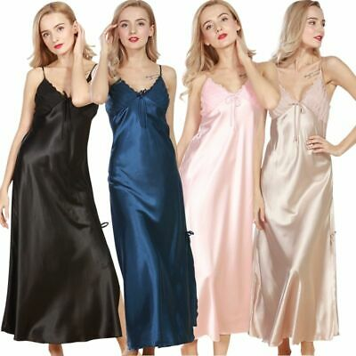 Womens Satin & Deep V Neck Lace Long Chemise Negligee Nightdress Silk Nightie