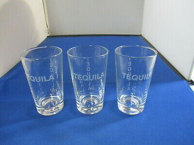 "Set Of 3 Tequila Shot Glasses 33/4"" Clear With Frosted ""Teguila"" Both Sides"