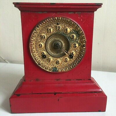 Ansonia Clock Co New York Antique American Mantel Clock Red Gold Heavy Metal