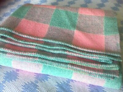 Vintage 100% Pure Welsh Wool Check Blanket Quilt Carthen Throw