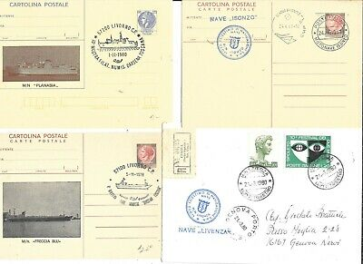 13 LLOYD TRIESTINO OCEN LINER PAQUEBOT MAIDEN VOYAGE CANCEL COVERS and POSTCARDS