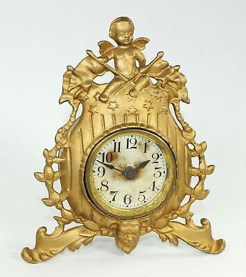 WINGED CHERUB CLOCK w/FLAGS - ANTIQUE TB618
