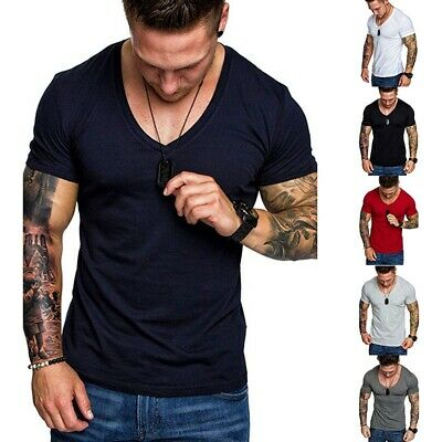 Men Deep V Neck Summer Short Sleeve T-shirt Basic Tee Shirt Casual Slim Fit Top