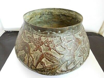 Superb Antique 19Th Century Indian Warrior / Lion / Elephant Bowl