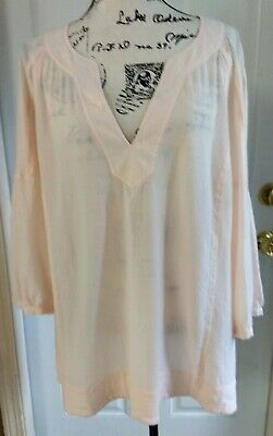 J Jill Cotton Peach Light Pink V Neck Tunic Top Shirt Blouse Crepe Texture XL