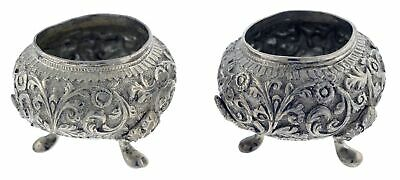 Pair Antique Burmese Fine Silver Repousse Footed Incense Burners Offering Bowls