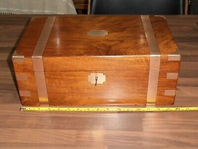 Lge Antique Victorian Brass Bound Walnut writing slope with hidden drawers & key