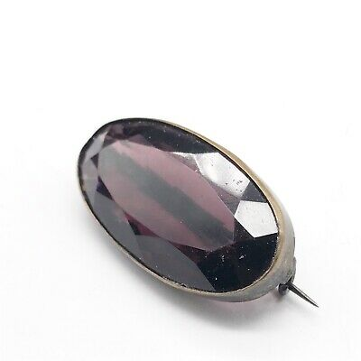 Antique Victorian Ladies Large Amethyst Single Stone Pin Brooch