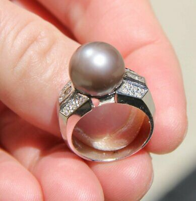 14K 585 Solid White Gold 11.6Mm Hot Cocoa Pearl 0.40Cts Diamond 9.4 Grams Ring