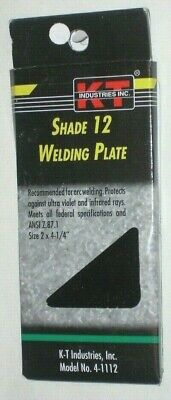 KT Industries 4-1112 Shade 12 Welding Plate for Welding Helmet 2 x 4 1/4""