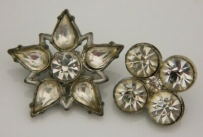 LOT Antique Vintage BUTTON METAL Setting Each with 5-6 RHINESTONES cup set