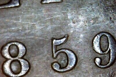 Canada  1859 Large Cent  Double 5    #Q098