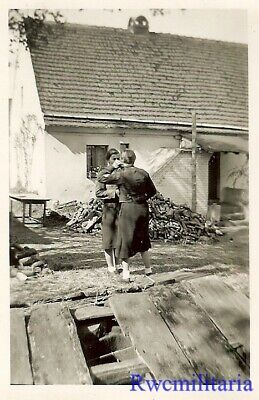 **RARE: Pair of German Uniformed BDM Girls Chatting in Yard by House!!!**