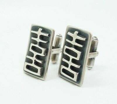 Vintage Pair MCM Abstract Modernist Designer FHB Sterling Silver Cufflinks