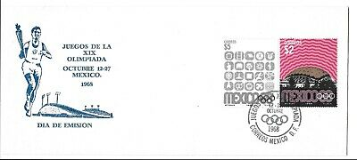 Mexico Postal History Fdc Cachet Olympics Games Stamps Special Canc Yr'1968