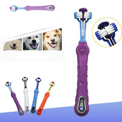 New Three Sided Pet Cleaning Brush Dog ToothBrush Teeth Care Dog Cat Cleaning