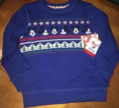 Disney Toddler Boys' Mickey Mouse Sweatshirt Christmas Sweater 4t NWT