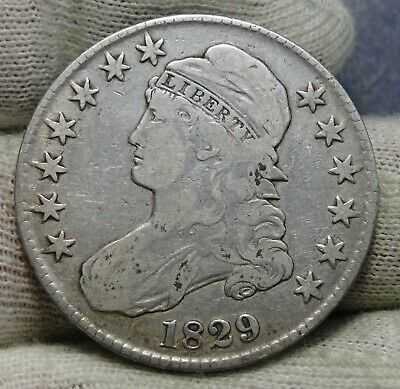1829 Capped Bust Half Dollar - 50 Cents, Very Nice Coin, Free Shipping  (8414)