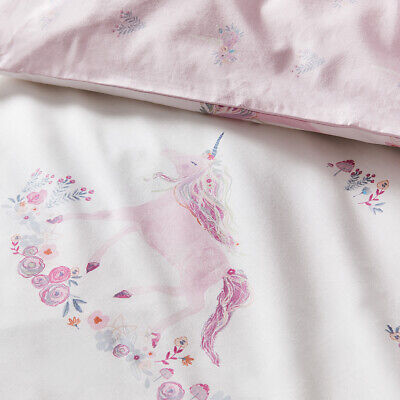 ADAIRS KIDS Unicorn Fields COT (Jnr Bed) QUILT COVER SET BNIP pink floral